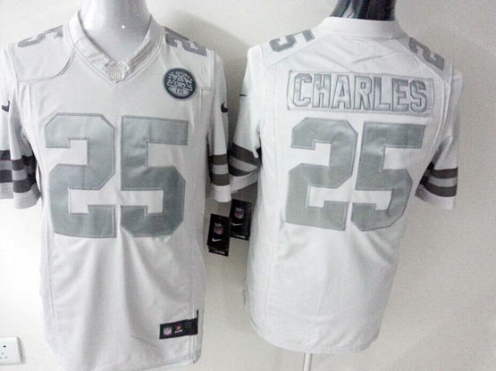 Mens Nfl Kansas City Chiefs #25 Charles White (silver Number) Platinum Limited Jersey