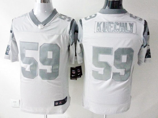 Mens Nfl Carolina Panthers #59 Kuechly White (silver Number) Platinum Limited Jersey