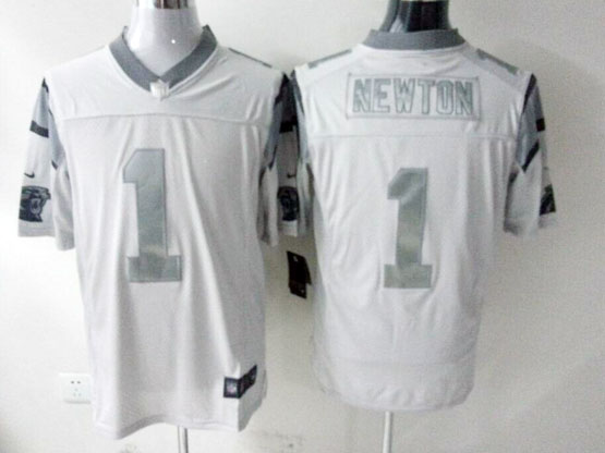 Mens Nfl Carolina Panthers #1 Cam Newton White (silver Number) Platinum Limited Jersey
