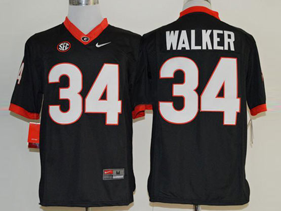 Mens Ncaa Nfl Georgia Bulldogs #34 Walker Black Sec Limited Jersey
