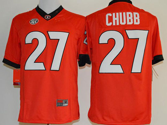Mens Ncaa Nfl Georgia Bulldogs #27 Chubb Red Sec Limited Jersey