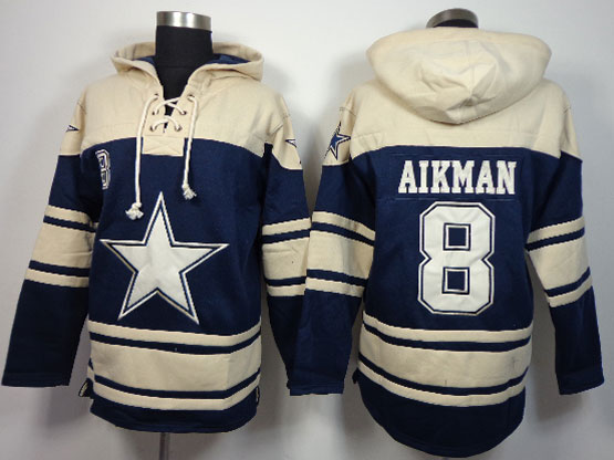 mens nfl Dallas Cowboys #8 Troy Aikman blue (team hoodie) jersey