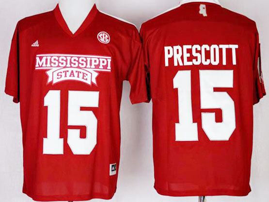 Mens Ncaa Nfl Mississippi State Bulldogs #15 Prescott Red Jersey