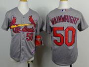 Youth Mlb St.louis Cardinals #50 Adam Wainwright Gray Jersey