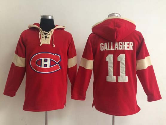 Mens nhl montreal canadiens #11 gallagher red (new single color) hoodie Jersey