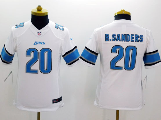 youth nfl Detroit Lions #20 Barry Sanders white limited jersey