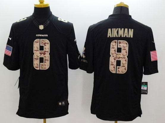 youth nfl Dallas Cowboys #8 Troy Aikman salute to service black limited jersey