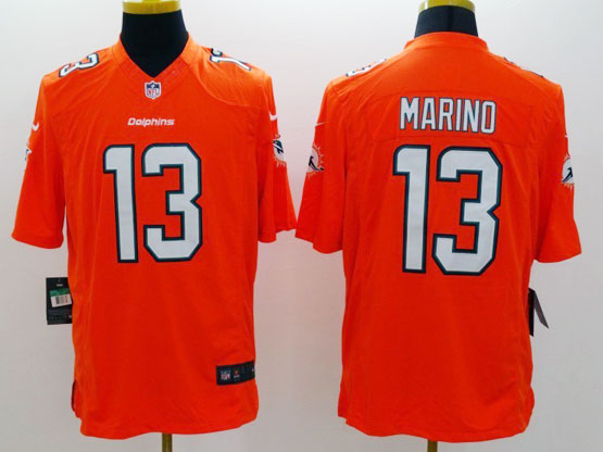 Mens Nfl Miami Dolphins #13 Marino Orange (2013 New) Limited Jersey