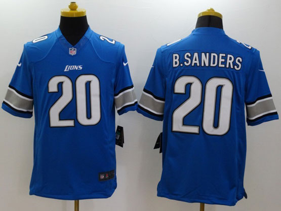 mens nfl Detroit Lions #20 Barry Sanders blue limited jersey