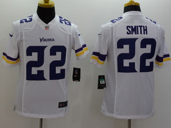 Mens Nfl Minnesota Vikings #22 Smith White (2013 New) Limited Jersey