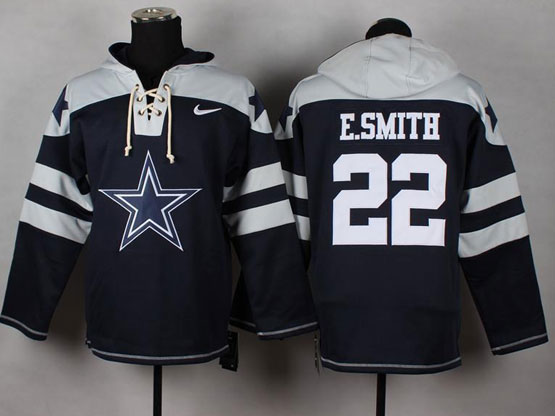 Mens nfl dallas cowboys #22 e.smith blue (new single color) hoodie Jersey