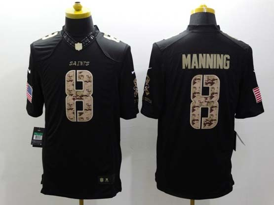 Mens Nfl New Orleans Saints #8 Manning Salute To Service Black Limited Jersey
