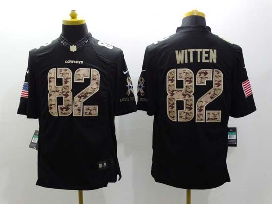 mens nfl Dallas Cowboys #82 Jason Witten salute to service black limited jersey