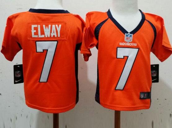 Kids Nfl Denver Broncos #7 Elway Orange Jersey