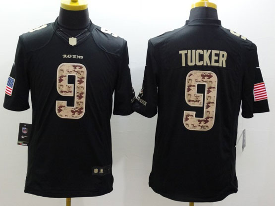 Mens Nfl Baltimore Ravens #9 Justin Tucker Salute To Service Black Limited Jersey