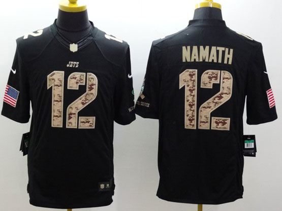 Mens Nfl New York Jets #12 Namath Salute To Service Black Limited Jersey