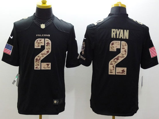 Mens Nfl Atlanta Falcons #2 Ryan Salute To Service Black Limited Jersey