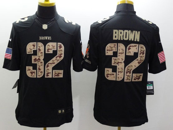 Mens Nfl Cleveland Browns #32 Brown Salute To Service Black Limited Jersey