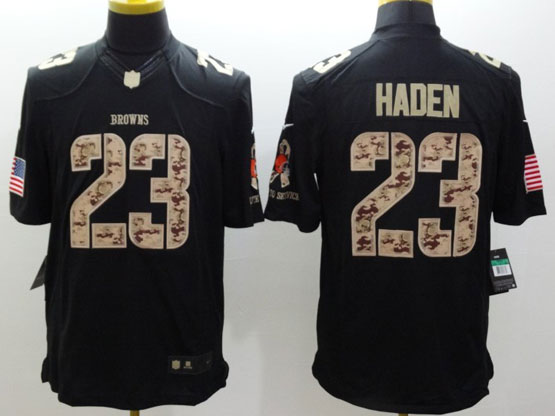 Mens Nfl Cleveland Browns #23 Haden Salute To Service Black Limited Jersey