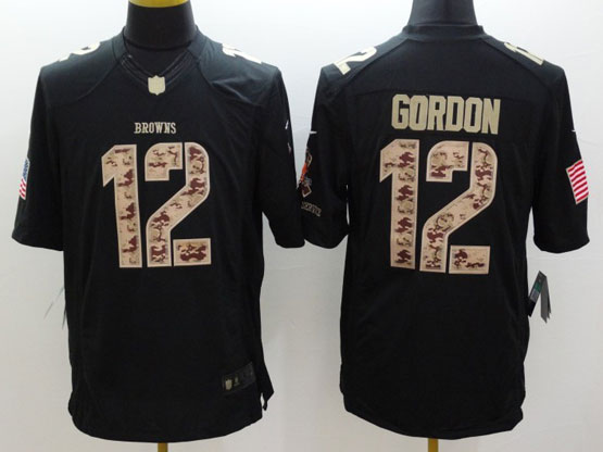 Mens Nfl Cleveland Browns #12 Gordon Salute To Service Black Limited Jersey