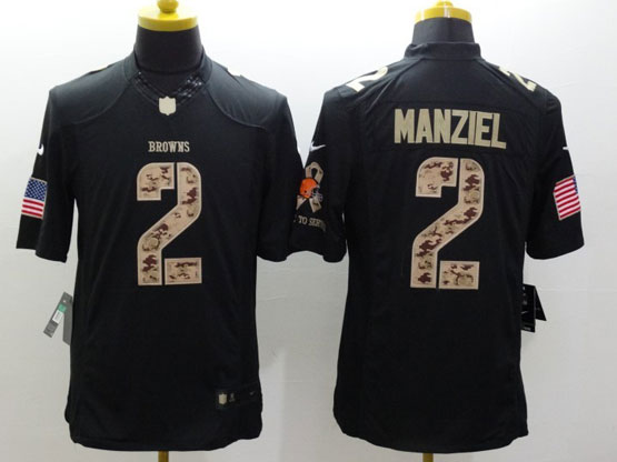 Mens Nfl Cleveland Browns #2 Manziel Salute To Service Black Limited Jersey