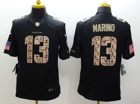 Mens Nfl Miami Dolphins #13 Marino Salute To Service Black Limited Jersey
