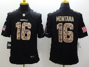 Mens Nfl San Francisco 49ers #16 Montana Salute To Service Black Limited Jersey