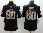 Mens Nfl San Francisco 49ers #80 Rice Salute To Service Black Limited Jersey