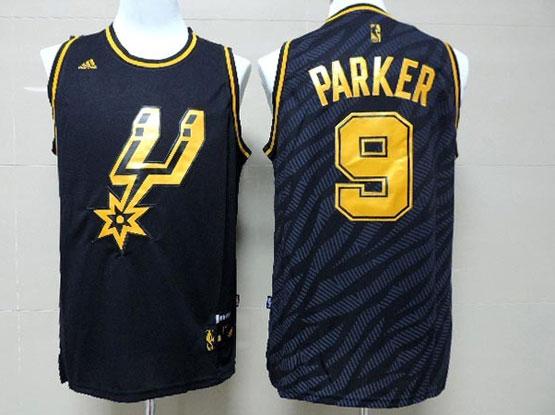 Mens Nba San Antonio Spurs #9 Parker Dark Blue Precious Metals Fashion Swingman Jersey