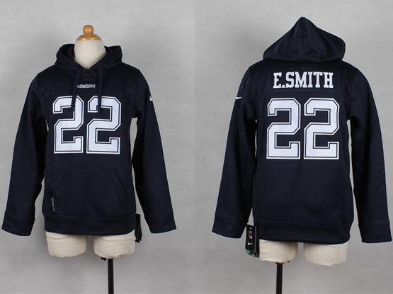Youth Nfl Dallas Cowboys #22 E.smith Blue Hoodie Jersey