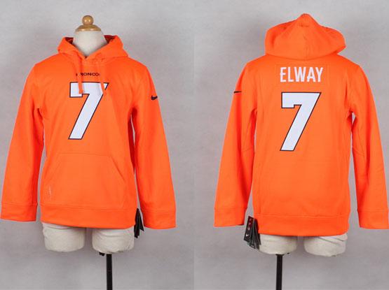 Youth Nfl Denver Broncos #7 Elway Orange Hoodie Jersey
