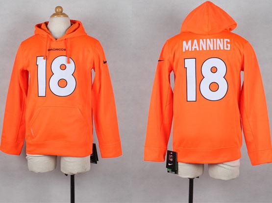 Youth Nfl Denver Broncos #18 Manning Orange Hoodie Jersey