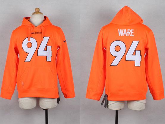 Youth Nfl Denver Broncos #94 Ware Orange Hoodie Jersey