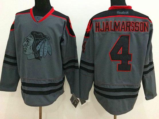 Mens Reebok Nhl Chicago Blackhawks #4 Hjalmarsson Gray Cross Check Premier Fashion Jersey
