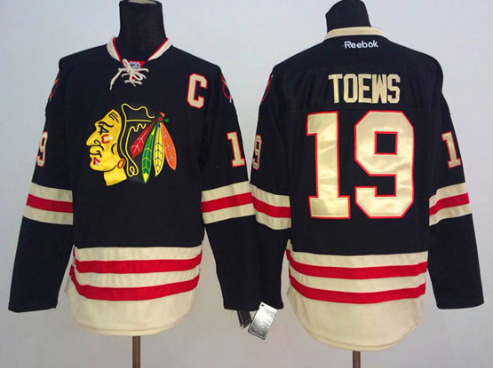 Mens reebok nhl chicago blackhawks #19 toews black (2015 winter classic) Jersey