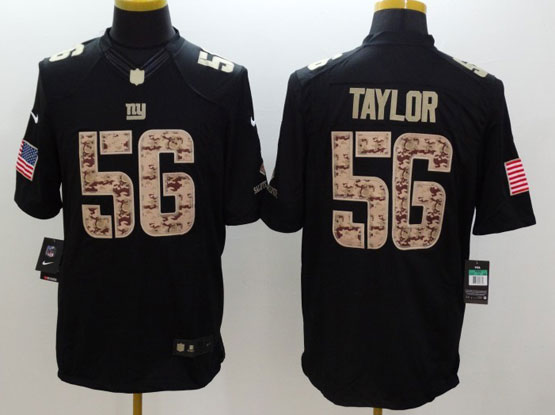 Mens Nfl New York Giants #56 Taylor Salute To Service Black Limited Jersey