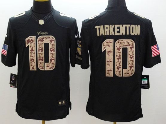 Mens Nfl Minnesota Vikings #10 Tarkenton Salute To Service Black Limited Jersey