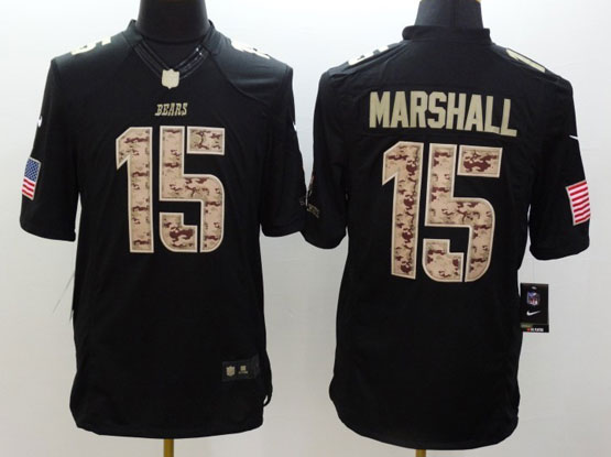 Mens Nfl Chicago Bears #15 Marshall Salute To Service Black Limited Jersey
