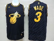 Mens Nba Miami Heat #3 Wade Dark Blue Precious Metals Fashion Swingman Jersey