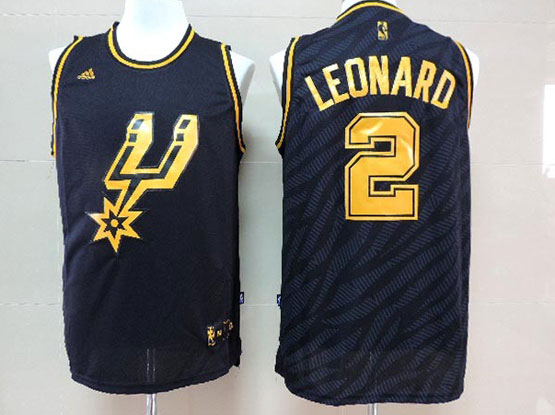 Mens Nba San Antonio Spurs #2 Leonard Dark Blue Precious Metals Fashion Swingman Jersey