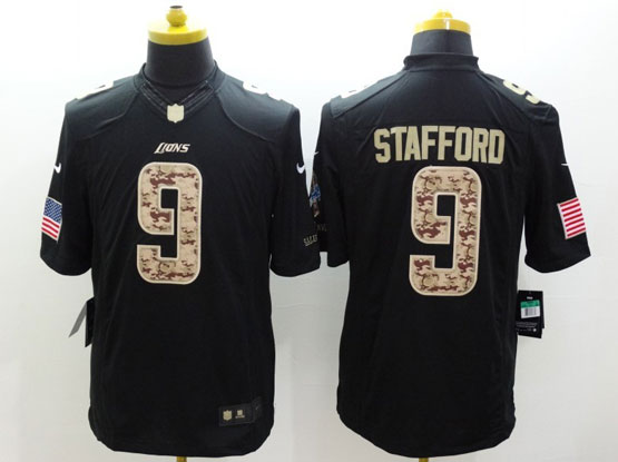 Mens Nfl Detroit Lions #9 Stafford Salute To Service Black Limited Jersey