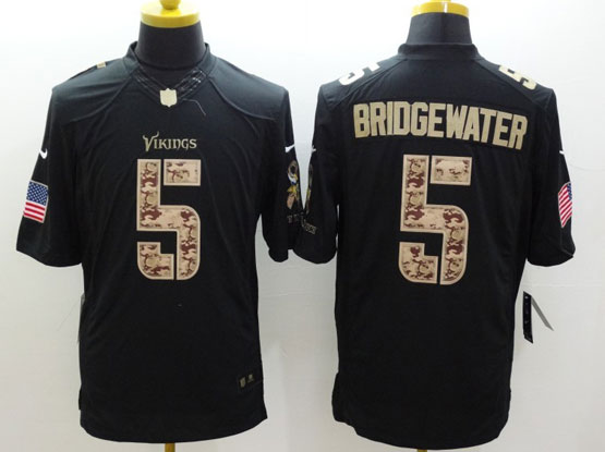 Mens Nfl Minnesota Vikings #5 Bridgewater Salute To Service Black Limited Jersey