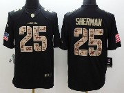 Mens Nfl Seattle Seahawks #25 Sherman Salute To Service Black Limited Jersey
