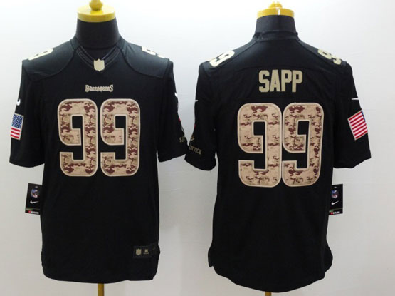 Mens Nfl Tampa Bay Buccaneers #99 Sapp Salute To Service Black Limited Jersey