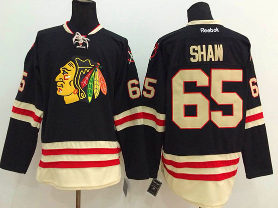 Mens reebok nhl chicago blackhawks #65 shaw black (2015 winter classic) Jersey