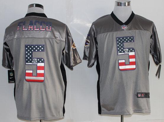 Mens Nfl Baltimore Ravens #5 Joe Flacco 2014 Usa Flag Fashion Gray Shadow Elite Jerseys