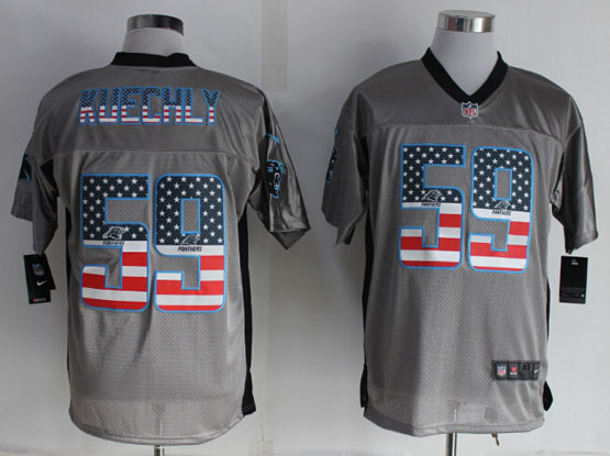 Mens Nfl Carolina Panthers #59 Kuechly 2014 Usa Flag Fashion Gray Shadow Elite Jerseysjersey
