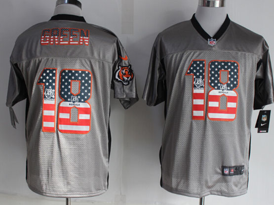 mens nfl Cincinnati Bengals #18 AJ Green 2014 usa flag fashion gray shadow elite jerseys