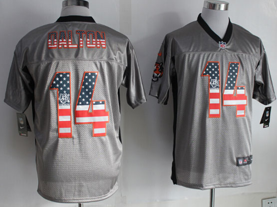 Mens Nfl Cincinnati Bengals #14 Dalton 2014 Usa Flag Fashion Gray Shadow Elite Jerseys