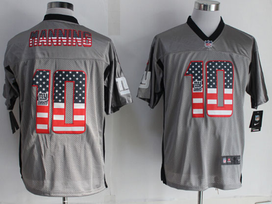 Mens Nfl New York Giants #10 Manning 2014 Usa Flag Fashion Gray Shadow Elite Jerseys